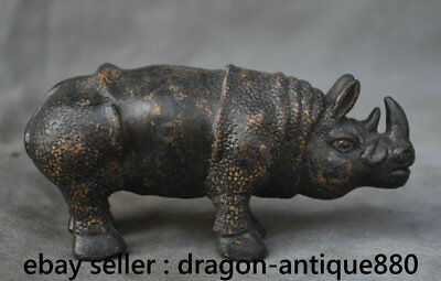 """5.6"""" Old Chinese Bronze Dynasty Palace Feng Shui Black Rhinoceros Animal Statue"""