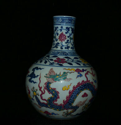 "12"" Xuande Marked Old China Wucai Porcelain Dynasty Dragon Tianqiu Bottle Vase"