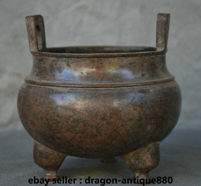 """6"""" Old Marked Chinese dynasty Palace Bronze 3 Foot incense burner Censer Pot"""