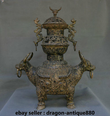 "22.8"" Old Chinese Bronze Ware Dynasty Bull Oxen Beast Zun Dragon Handle Censer"