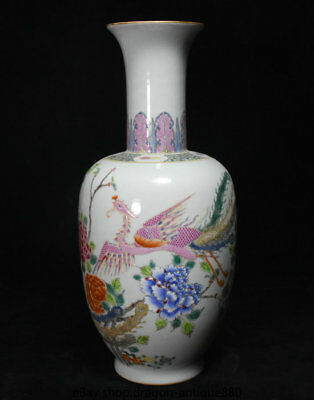 "13.6"" Marked Old Chinese Wucai Porcelain Palace Phoenix Peony Flower Bottle Vase"