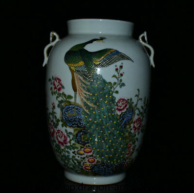 "12"" Chinese Famille Rose Porcelain Qing Dynasty peacock peafowl Bottle Vase X2"