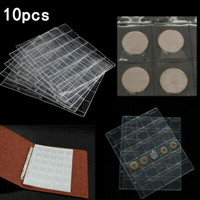 10Pcs 30 Pockets Plastic Coin Holders Storage Collection Money Album Page Case