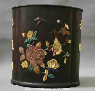 """6"""" Chinese Red Wood inlay Shell Carving Peony Flower Bird Brush Pot Pencil Vase"""