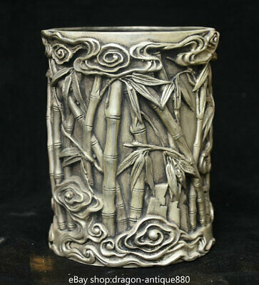 """5"""" Marked Old China Silver Palace Bamboo be promoted step by step pen holder"""