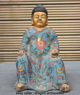 """8.8"""" Old Chinese Bronze Cloisonne Ming Dynasty Emperor Zhu Yuan-zhang Sculpture"""