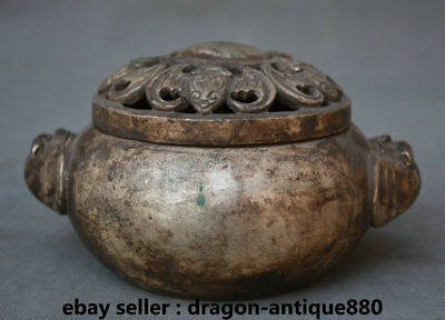 """5.6"""" lection Marked Old China Silver Dynasty Palace Bat Blessing Incense Burners"""