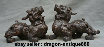 "8.4"" Old Chinese Bronze Feng shui Pixiu Unicorn Beast BIXIE Wealth Statue Pair"