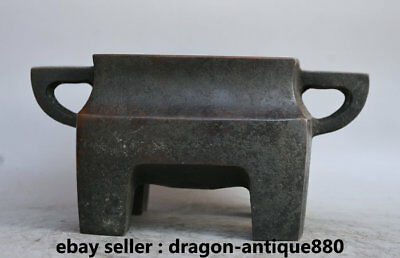 "8"" Old Marked Chinese dynasty Palace Bronze 4 Foot Handle incense burner Censer"
