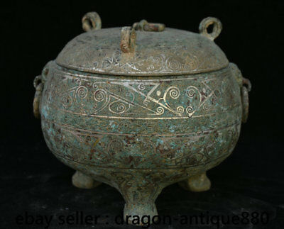 """8""""Chinese Dynasty Palace Old Antique Bronze Beast Stria 3 Foot lid Pot Jar Crock"""