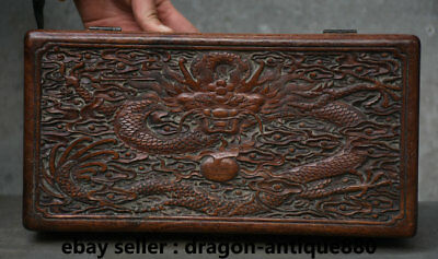 "12"" Rare Old Chinese Huanghuali Wood Carving Dragon Storage Casket Jewelry box"