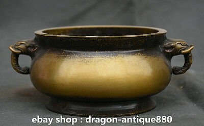 "8"" Old Chinese Xuande Marked Copper Double Elephant Handle Incense Burner Censer"