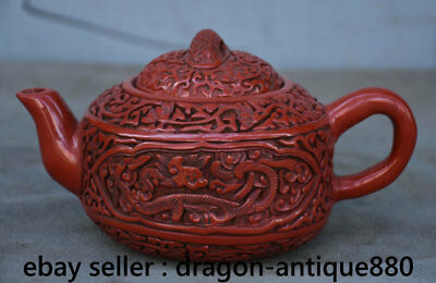 "7.2"" Marked Old Chinese Red Lacquerware Dynasty Dragon Handle Teapot Teakettle"