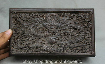 """10 """" Ancient Chinese wood Carved Dragon Ball torage jewel jewelry box casket"""