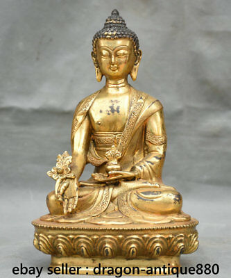 "8"" Old Tibetan Buddhism Bronze Gild Menla Medicine Buddha Medical God Sculpture"