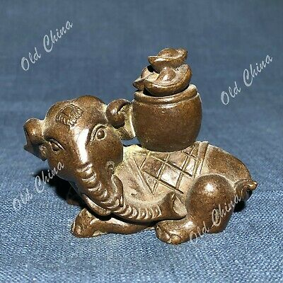 Chinese Antique Solid Copper Fortune Elephant Collectible Old Handwork Statue