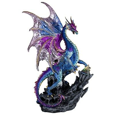 """Red /& Gold Sparkly Dragon Figurine With Prism Gem Jewel 7.5/"""" High Resin New"""
