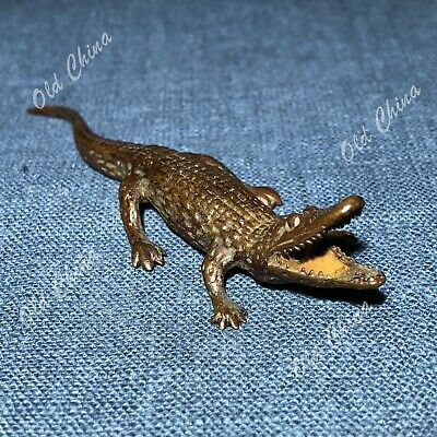 Chinese Collectible Old Antique Solid Copper Crocodile Ornament Handwork Statue