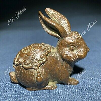 Chinese Zodiac Collectible Handwork Solid Copper Lucky Rabbit Old Antique Statue