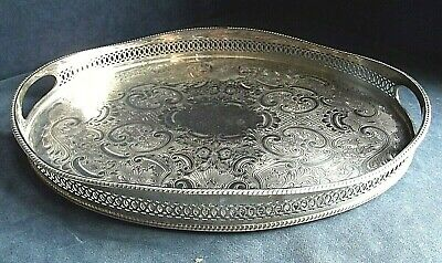 "SUPERB 16"" ~ SILVER Plated ~ Georgian Style ~ GALLERY TRAY ~ c1960 ~ 41cm"