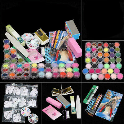 Acrylic Powder Glitter Nail Brush False Finger Pump Nail Art Tool Kit Set