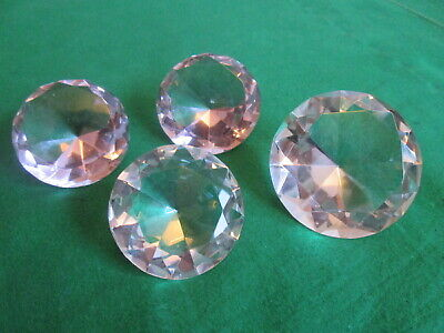 4 x GLASS CRYSTAL DIAMOND GEM DECORATIVE PAPERWEIGHTS 60MM & 50MM CLEAR & PINK