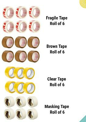 PACK OF 6 FRAGILE BROWN CLEAR MASKING LONG LENGTH PACKING TAPE STRONG 48mm x 66M