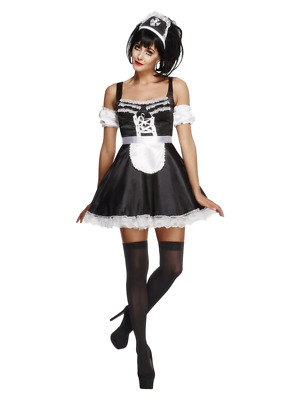 Womens Fever Flirty French Maid Costume Fancy Dress