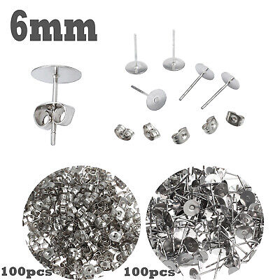 200PCS Earring Stud Posts Pads 6mm & Nut Backs Silvery Surgical Steel DIY Craft