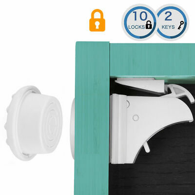 10 Locks +2Keys Invisible Magnetic Baby Child Pet Proof Cupboard Door DrawerSafe