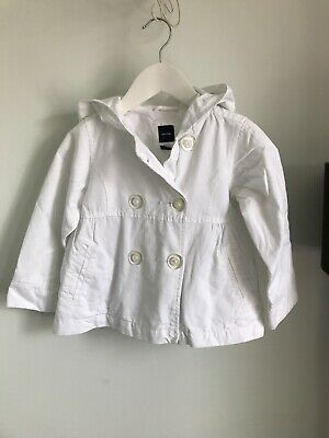 Baby GAP Girls White Hooded Double Breasted Summer Jacket Age 4 Years