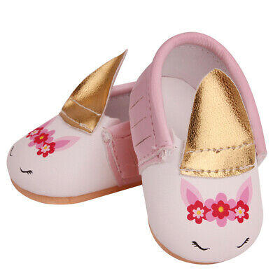 43cm Baby Dolls Shoes Pink Cute Unicorn Shoes Fit 18Inch Girl Doll Dress-up