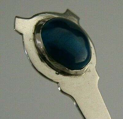 STERLING SILVER ARTS AND CRAFTS ENAMEL CABOCHON SPOON EARLY 20th CENTURY