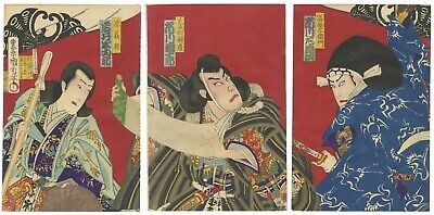 Original Japanese Woodblock Print, Kunichika, Actors in their Roles, Traditional