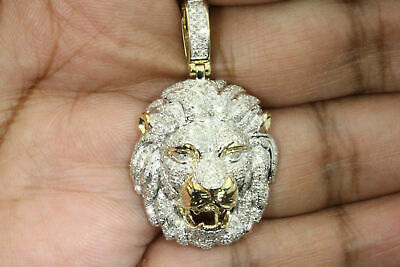 Solid 10K Yellow Gold Finish Round Diamond Lion Head Pendant Charm Piece 4.50 CT
