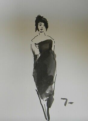 JOSE TRUJILLO - ABSTRACT EXPRESSIONISM INK WASH Fashion Woman Dress Art New 9x12