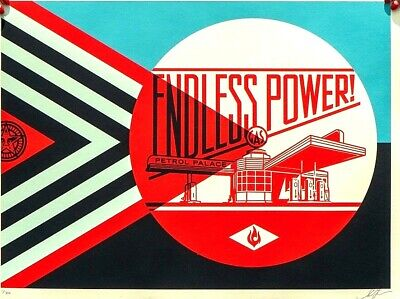 SIGNED Shepard Fairey ENDLESS POWER PETROL blue Print Poster Obey S/N #/350