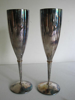 Vintage Kirk Stieff Silverplate Champagne Flutes  Spain Engraved W Set of 2