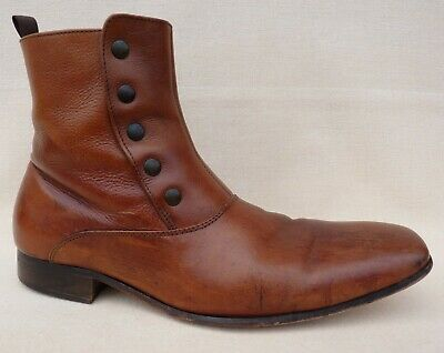Vintage JONES 1857 Mens Chelsea Boots Brown Leather Slip On Ankle Boots Size 8