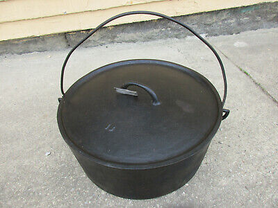 "Large 18"" Antique Cast Iron Covered Logging Camp Pot Dutch Oven Gate-Marked (t)"