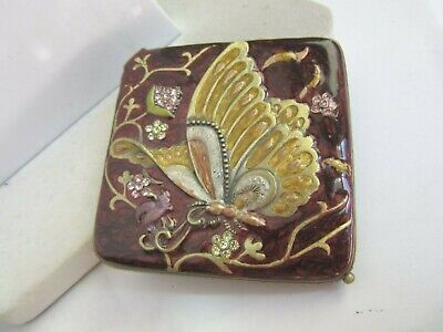 Vintage enameled Butterfly with crystals mirror compact
