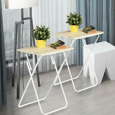 Folding TV Trays 2 Pcs Small Snack Metal Dinner Tray Side Table