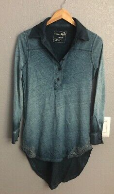 acb1f809417 Free People Distressed Tunic Top Popover Henley Collared Ombre Lace Hi Low  XS