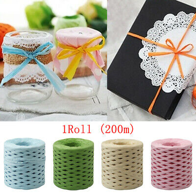 1PC DIY Baking Paper Rope Wrapping String Raffia Ribbon Twine Cord Box 200m