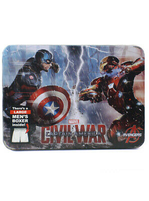 Captain America Civil War Men's Boxer Size Large In Collector's Tin Marvel New
