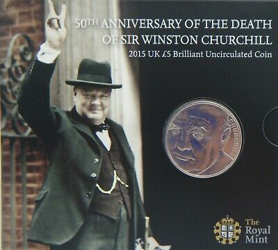2015 UK £5 5 Pound Coin  50th Anniv of the Death of Winston Churchill  Brand New
