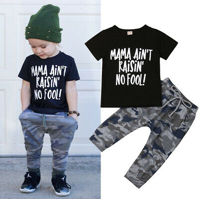 10e4be4f9958f 2PCS Baby boys Toddler Kids Summer Outfits Clothes T-shirt Tops+Camo Pants  Set