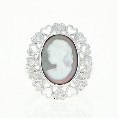 Mother of Pearl Cameo Ring - 18k Gold Diamond-Accented Halo Hearts Size 6 3/4