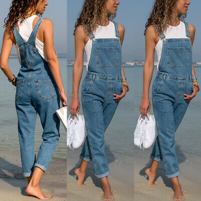 Plus Size Womens Full Length Jeans Jumpsuit Casual Dungarees Overall Trousers UK