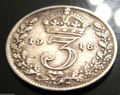 SOLID SILVER 3d 1916 Coin London II England Great Britain World War I Antique UK
